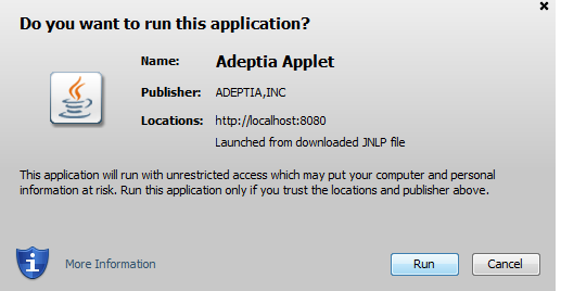 Java - Do you want to run this application? – Adeptia Help